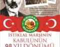 BAŞKAN YAVUZ'UN İSTİKLAL MARŞININ KABULÜNÜN 98.YIL DÖNÜMÜ MESAJI