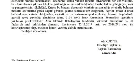 Kırıkhan Belediyesi Metruk Binalar 13.12.2019 Tarihli Tebliğ ve Encümen Kararı Yazısı