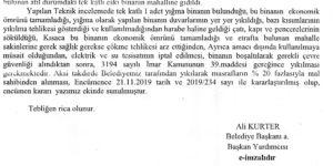 Kırıkhan Belediyesi Metruk Binalar 09.12.2019 Tarihli Tebliğ ve Encümen Kararı Yazısı