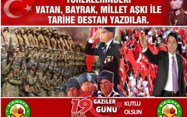 """BAŞKAN YAVUZ; """"19 EYLÜL GAZİLER GÜNÜMÜZ KUTLU OLSUN"""""""