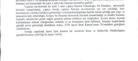 METRUK YAPI HAKKINDA ENCÜMEN KARARI (CUMHURİYET MAHALLESİ)